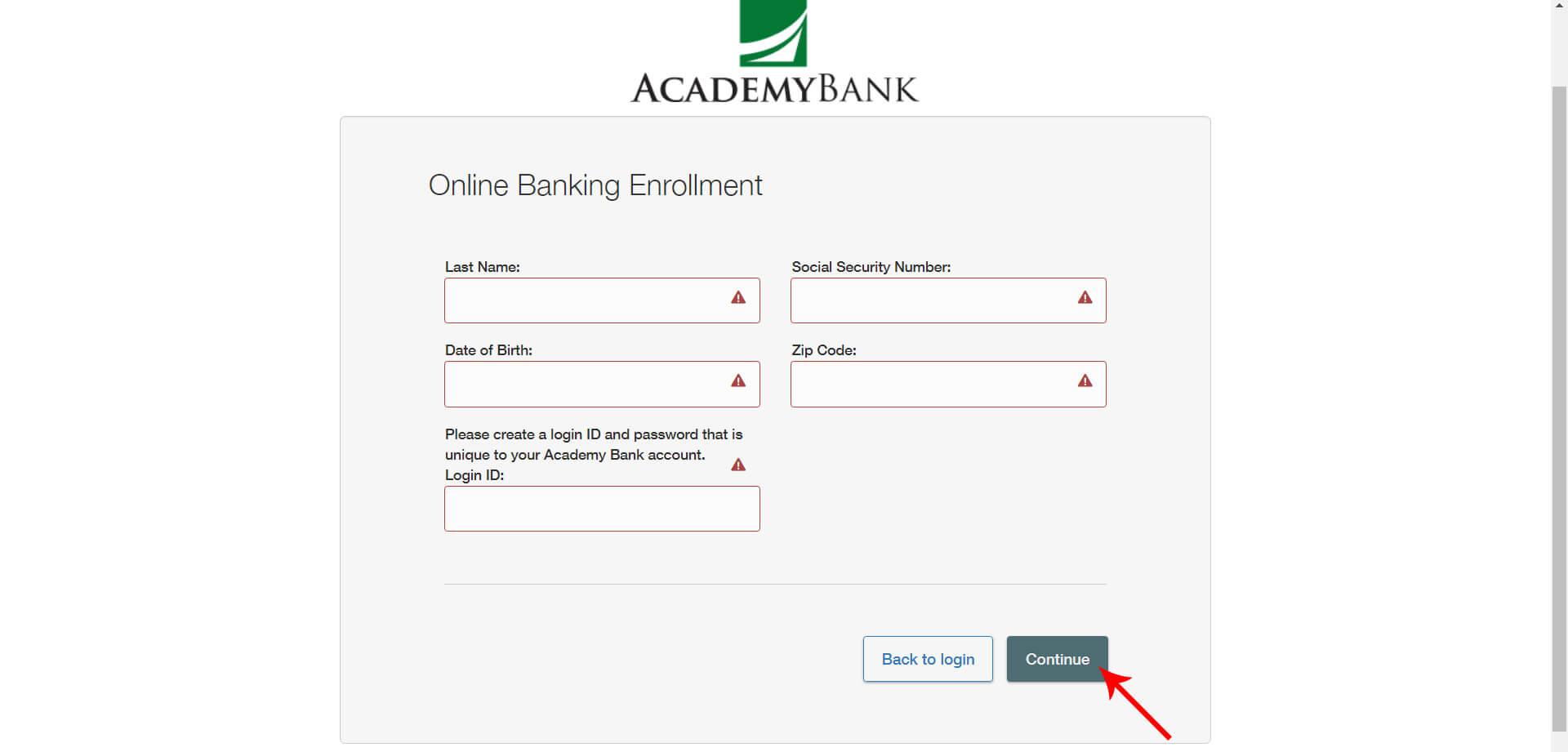 Academybank Online Banking Enrollment Form