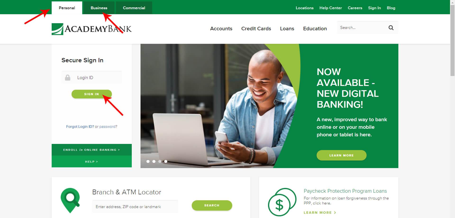 Academy Bank Login