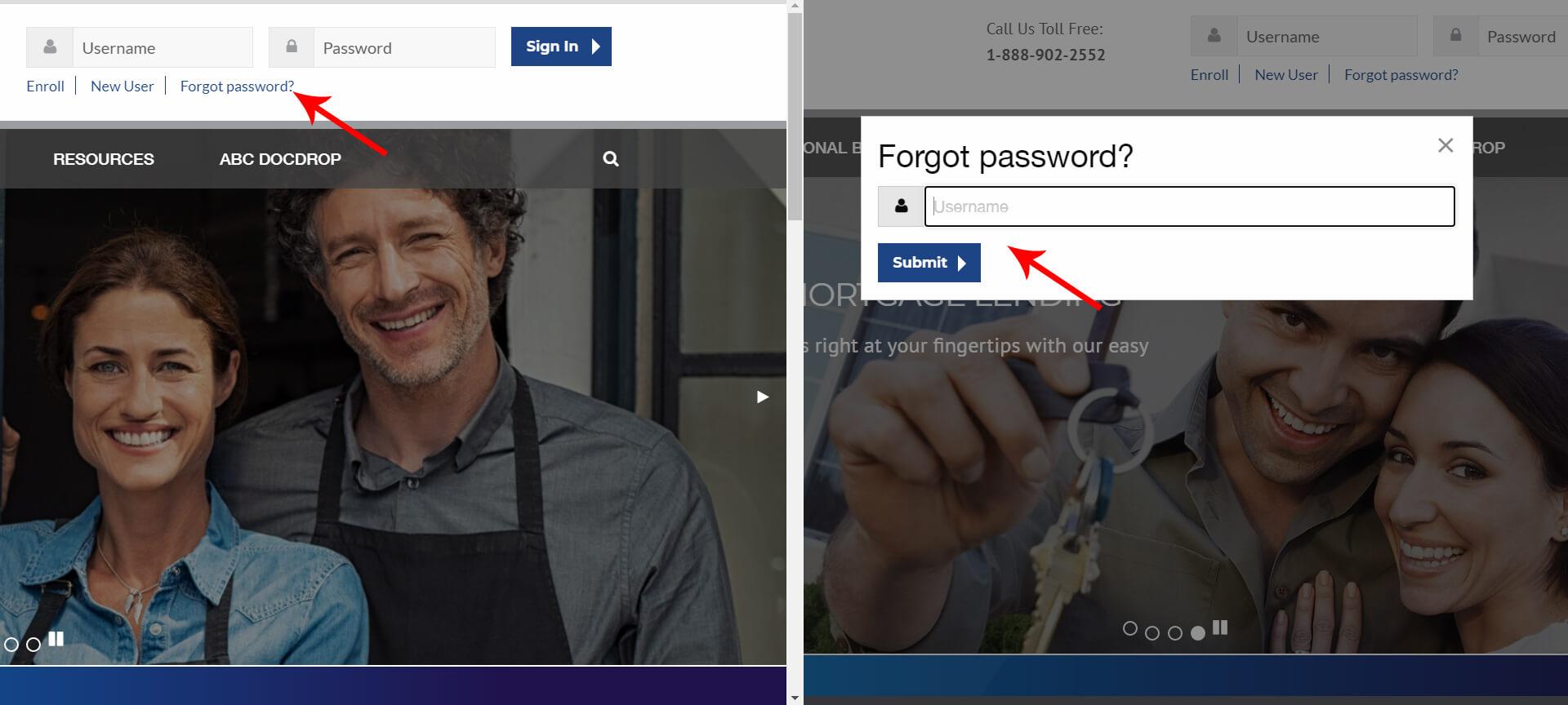 Reset ABC Bank Account Password